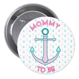 Mama om de Roze & Blauwgroen Knoop van het Baby Ronde Button 7,6 Cm