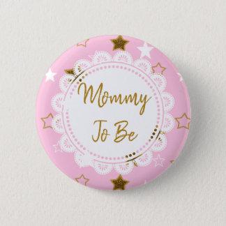 Mama om de Roze en Gouden Knoop van Sterren te Ronde Button 5,7 Cm