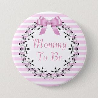 Mama om de Roze Gestreepte Knoop van het Baby Ronde Button 7,6 Cm