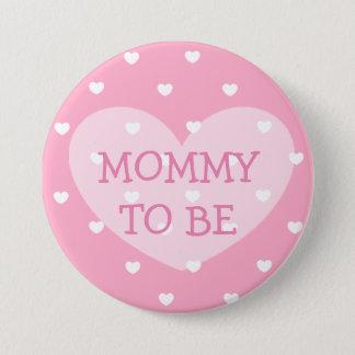 Mama om de roze Knoop van het hartenBaby shower te Ronde Button 7,6 Cm