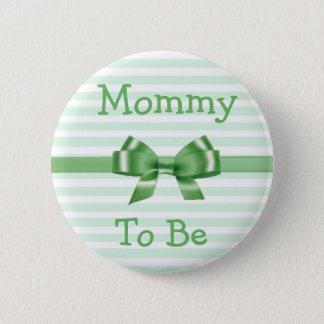 Mama om Groene & Witte het baby showerknoop van de Ronde Button 5,7 Cm