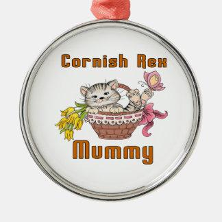 Mamma het van Cornwall van de Kat Rex Zilverkleurig Rond Ornament