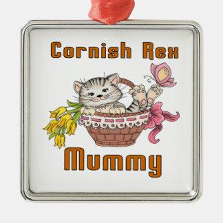 Mamma het van Cornwall van de Kat Rex Zilverkleurig Vierkant Ornament