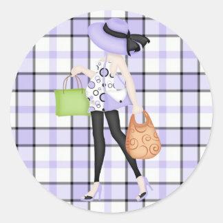 Mamma om met de Paarse & Zwarte Achtergrond van de Ronde Sticker