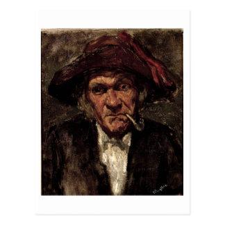 Man dat een pijp, c.1859 rookt briefkaart