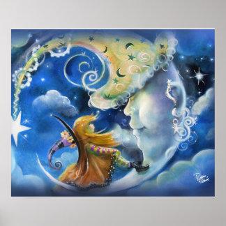 Man-in-de-maan en Heks Poster