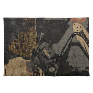 Man met beschermend masker op donker metaalbord placemat
