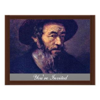 Man met een Baard Door Aanhanger van Rembrandt Persoonlijke Uitnodigingen