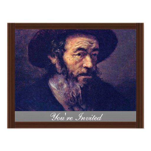 Man met een Baard. Door Aanhanger van Rembrandt Persoonlijke Uitnodigingen