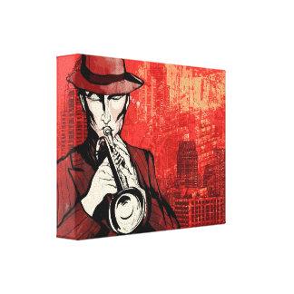 Man met een hoorn canvas afdruk