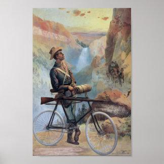 Man op Fiets, de Nationale Wijnoogst van het Park Poster