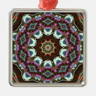 Mandal in zachte het gloeien stoffenkleuren zilverkleurig vierkant ornament
