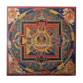 Mandala van Amitayus. de 19de eeuw Tibetan school Keramisch Tegeltje