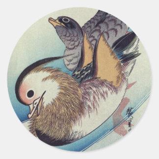Mandarin van Oshidori Eenden door Ando Hiroshige Ronde Sticker
