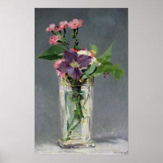 Manet | Pinks en Clematissen in een Vaas van het Poster