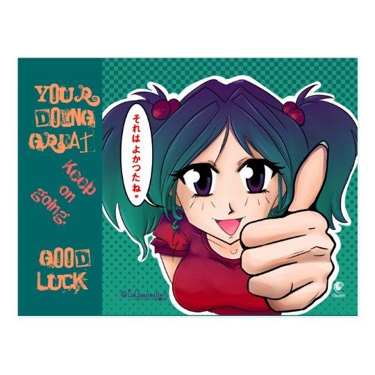 Manga girl with thumb up - card briefkaart