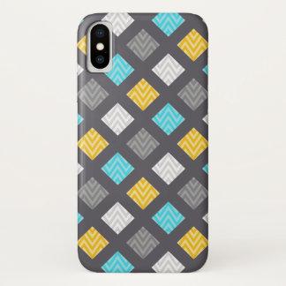 Mannelijk Grijs Blauw Geel Geometrisch Patroon iPhone X Hoesje