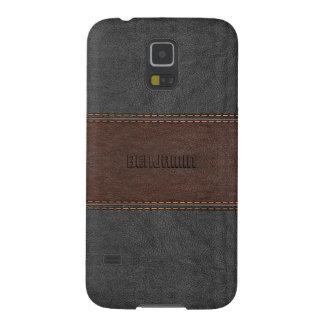 Mannelijk Grijs & Bruin Gestikt Leer Galaxy S5 Hoesje