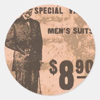 mannen kostuums ronde stickers
