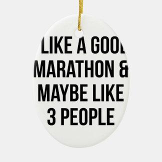 Marathon & 3 Mensen Keramisch Ovaal Ornament