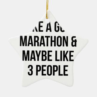 Marathon & 3 Mensen Keramisch Ster Ornament