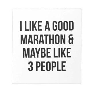 Marathon & 3 Mensen Notitieblok