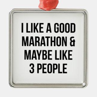 Marathon & 3 Mensen Zilverkleurig Vierkant Ornament