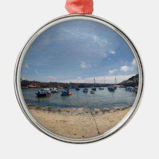 marazion haven zilverkleurig rond ornament