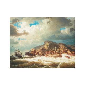 Marcus Larson - Schip door de Kust Canvas Afdruk