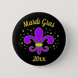 Mardi Gras fleur-DE-Lis voegt Jaar toe Ronde Button 5,7 Cm