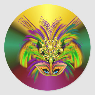 Mardi-Gras-masker-de-koningin Ronde Sticker
