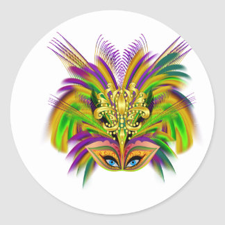 Mardi-Gras-masker-de-koningin-v-2 Ronde Sticker
