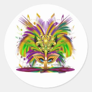 Mardi-Gras-masker-de-koningin-v-4 Ronde Sticker