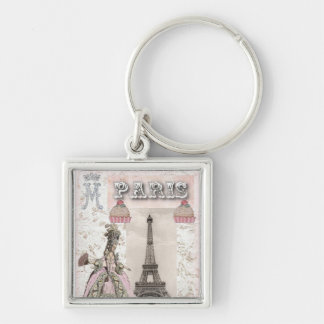 Marie Antoinette Cupcakes Keychain Zilverkleurige Vierkante Sleutelhanger