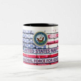 """Marine een """"Globale Kracht voor de Goede"""" Tweekleurige Koffiemok"""