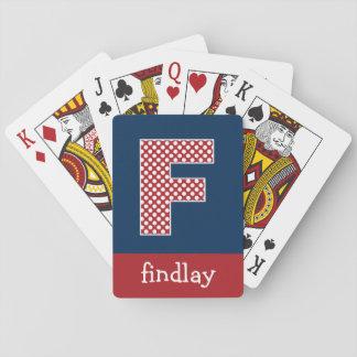 Marine en Rode Stippen met de Brief F van het Mono Speelkaarten