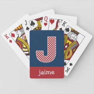Marine en Rode Stippen met de Brief J van het Mono Speelkaarten