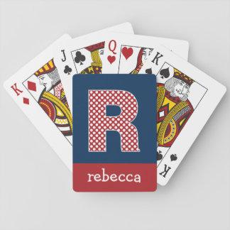Marine en Rode Stippen met de Brief R van het Pokerkaarten