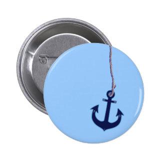marineblauw anker ronde button 5,7 cm