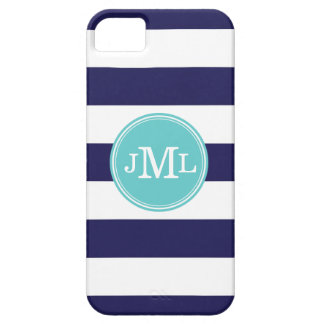 Marineblauw en Breed van de Streep Aqua Monogram Barely There iPhone 5 Hoesje