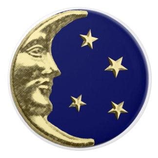 Marineblauw en de de Gouden Maan en sterren van Keramische Knop