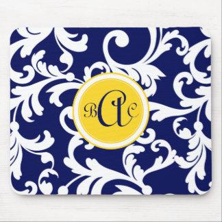 Marineblauw en Geel Damast Met monogram Muismatten
