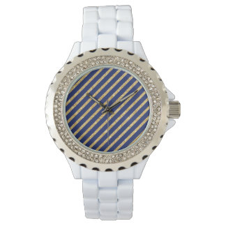 Marineblauw en Goud schitter het Diagonale Patroon Horloges