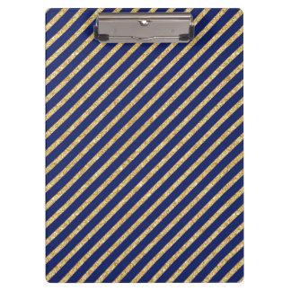 Marineblauw en Goud schitter het Diagonale Patroon Klembord
