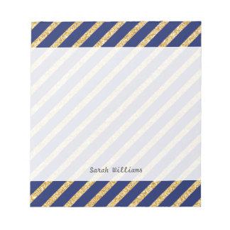 Marineblauw en Goud schitter het Diagonale Patroon Notitieblok
