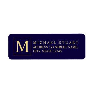 Marineblauw en Gouden Elegant Monogram Etiket