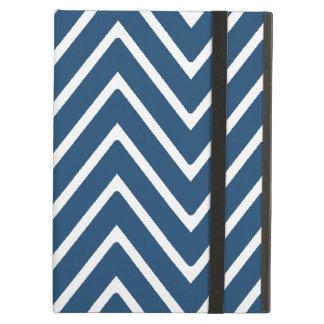 Marineblauw en Wit Patroon 2 van de Chevron iPad Air Hoesje