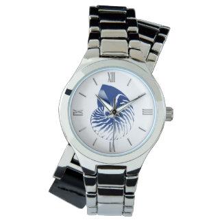 Marineblauw en wit shell van Nautilus - Horloge