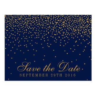 Marineblauw & Gouden Confettien Glam bewaar de Briefkaart