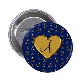 Marineblauw gouden de ankers gouden hart van het m ronde button 5,7 cm